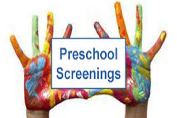Hands painted in all colors with preschool screening over them