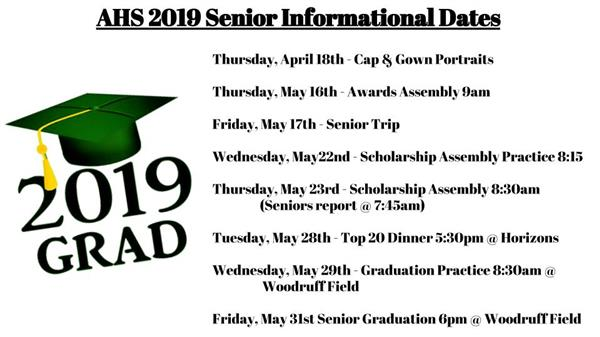 2019 AHS Senior Informational Dates