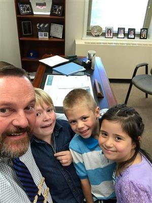 Principal Steven Hall and Piney Creek School Students